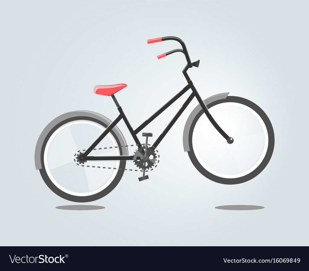 Black bike with red seat isolated on grey vector image