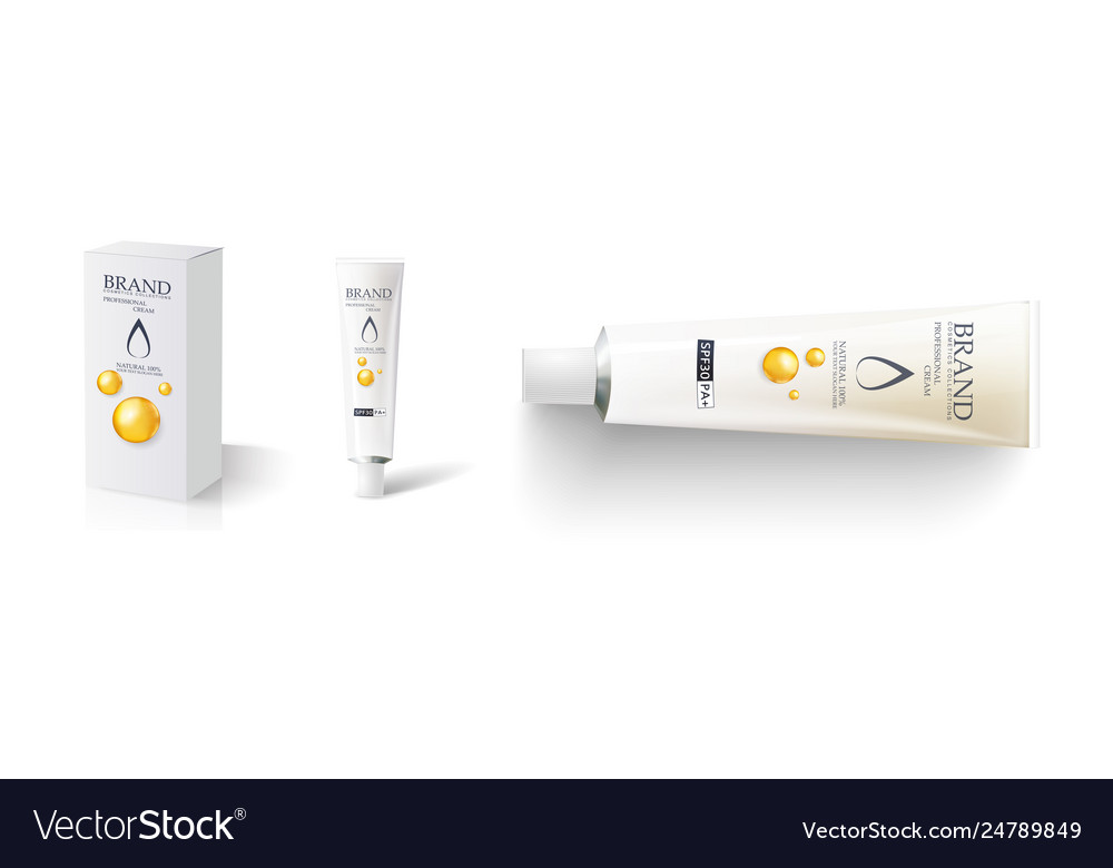 Blank Paper Box And Craem Tube Mockup Design Vector Image