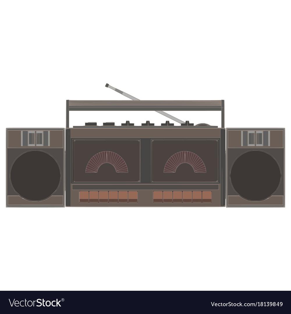 Cassette player retro music tape vintage audio vector image