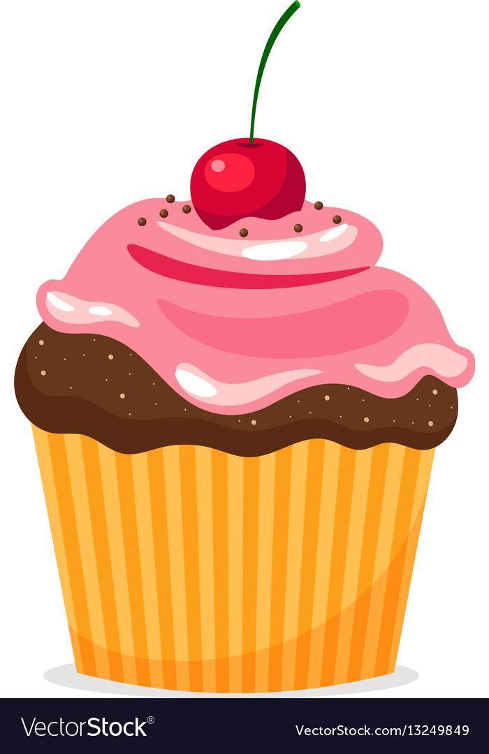 Chocolate cupcake with cream and cherry