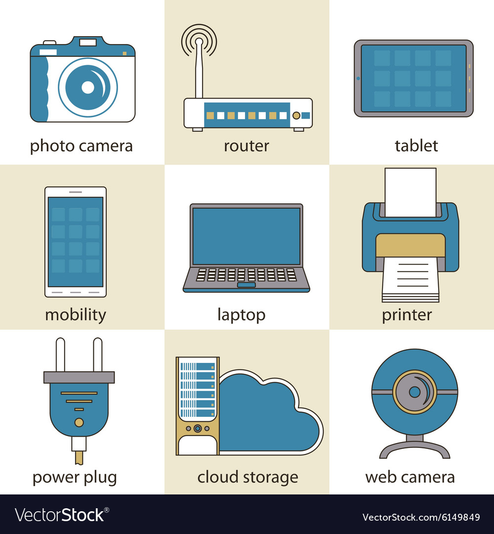 Computer technology and multimedia icons