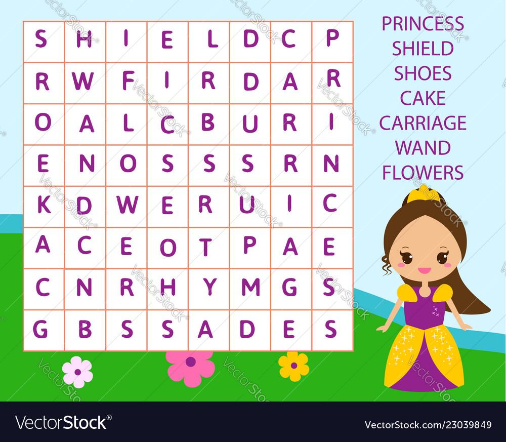 Educational Game For Children Word Search Puzzle Vector Image