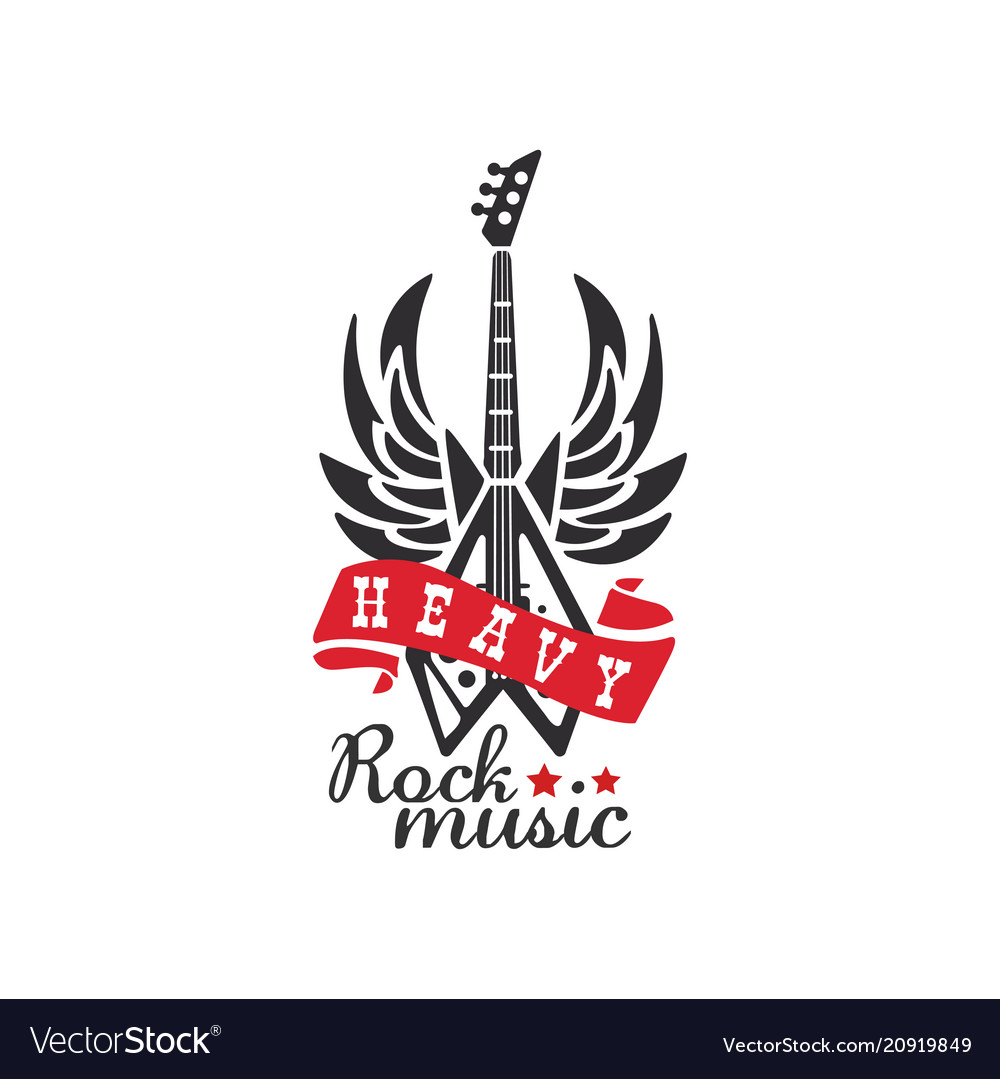Heavy rock music logo emblem for rock band