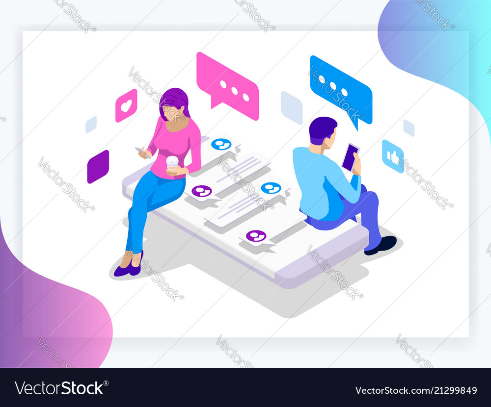 Isometric banner of virtual relationships and