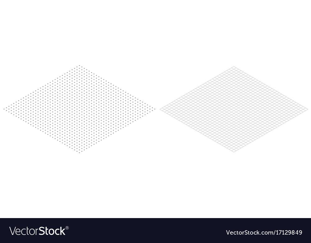 Isometric grid line paper isometric grid dots vect