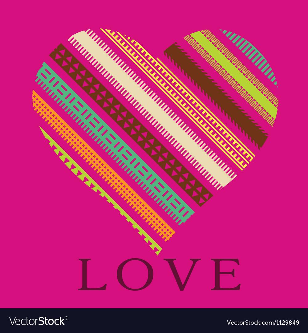 Ornamental pink heart valentine card vector image