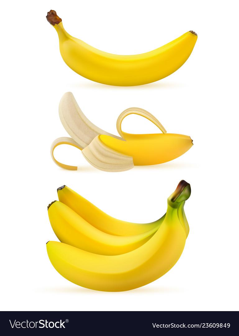 Realistic ripe bananas