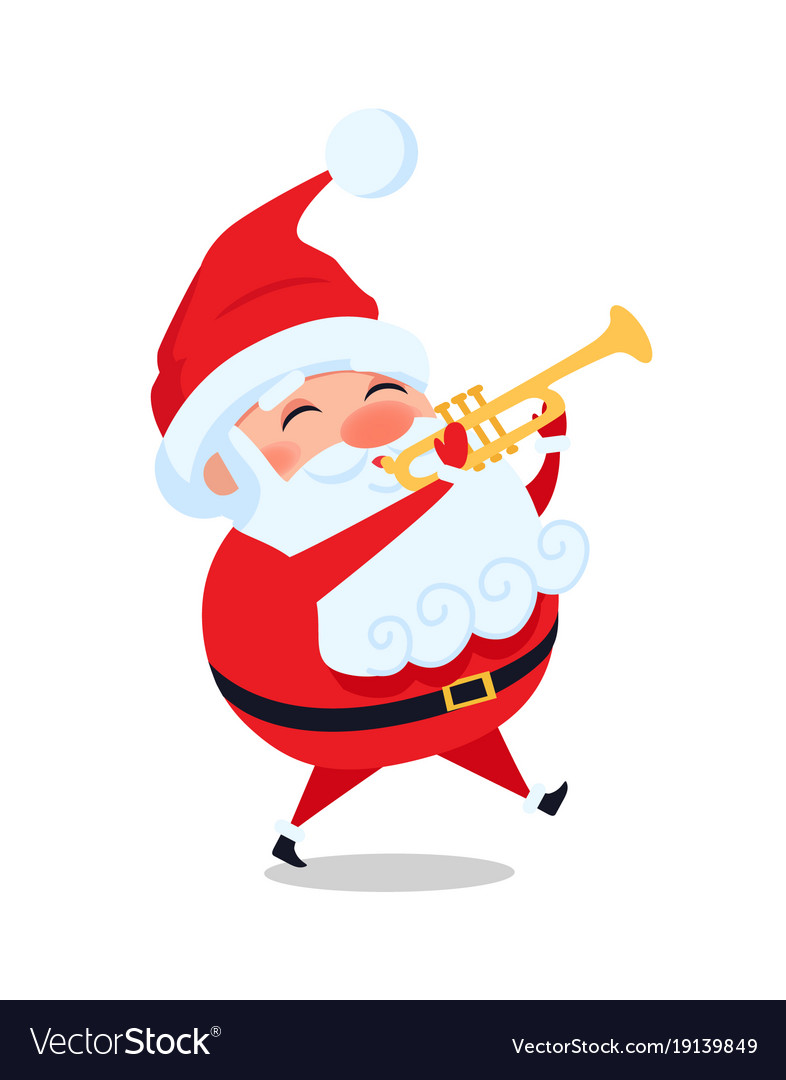 Christmas Trumpet Images.Santa Playing On Trumpet Cute Christmas Father