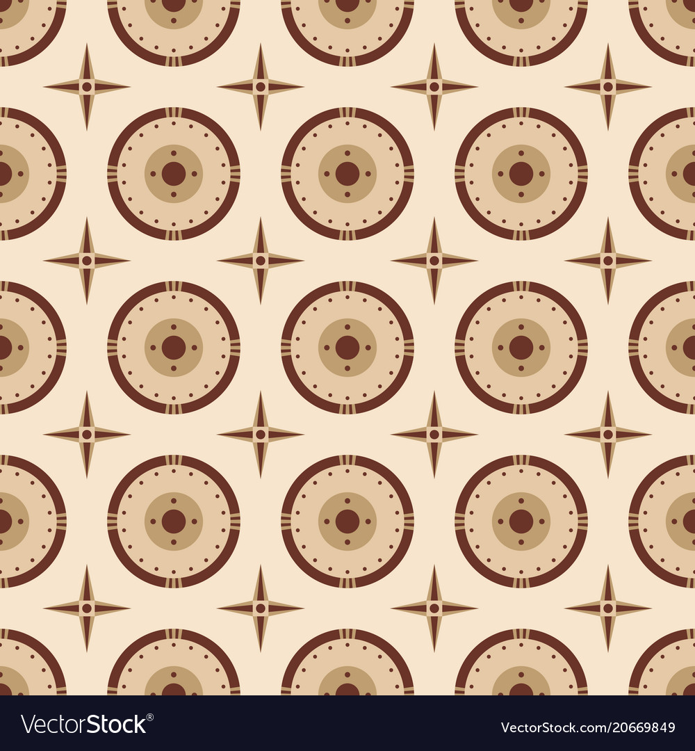 Seamless pattern of round shields and vector image