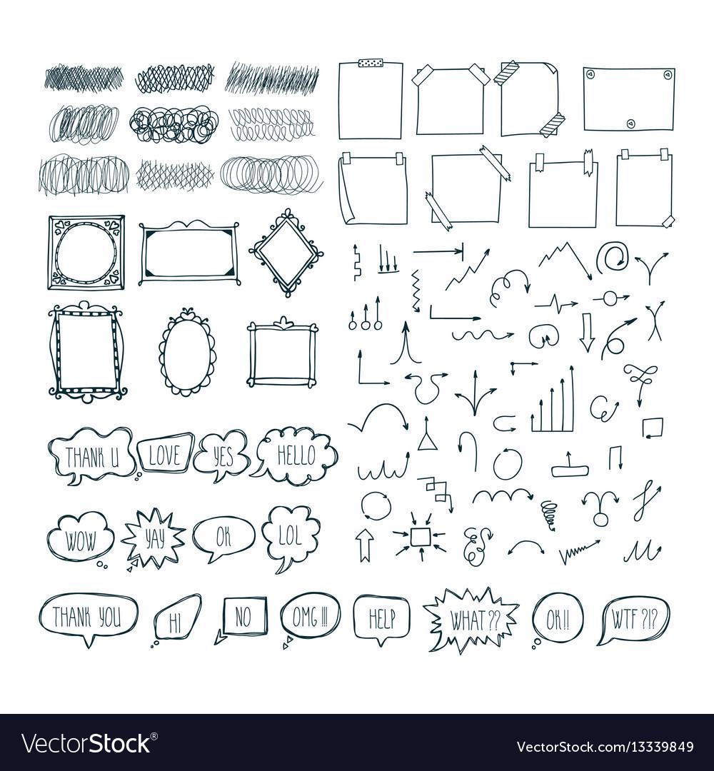 Set of hand drawn arrows speech bubbles frames