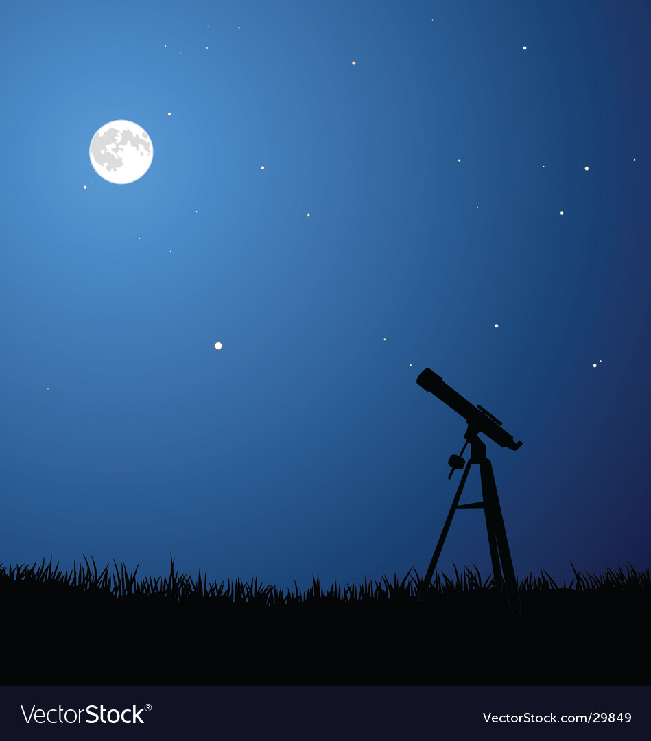 Star gazing with full moon vector image