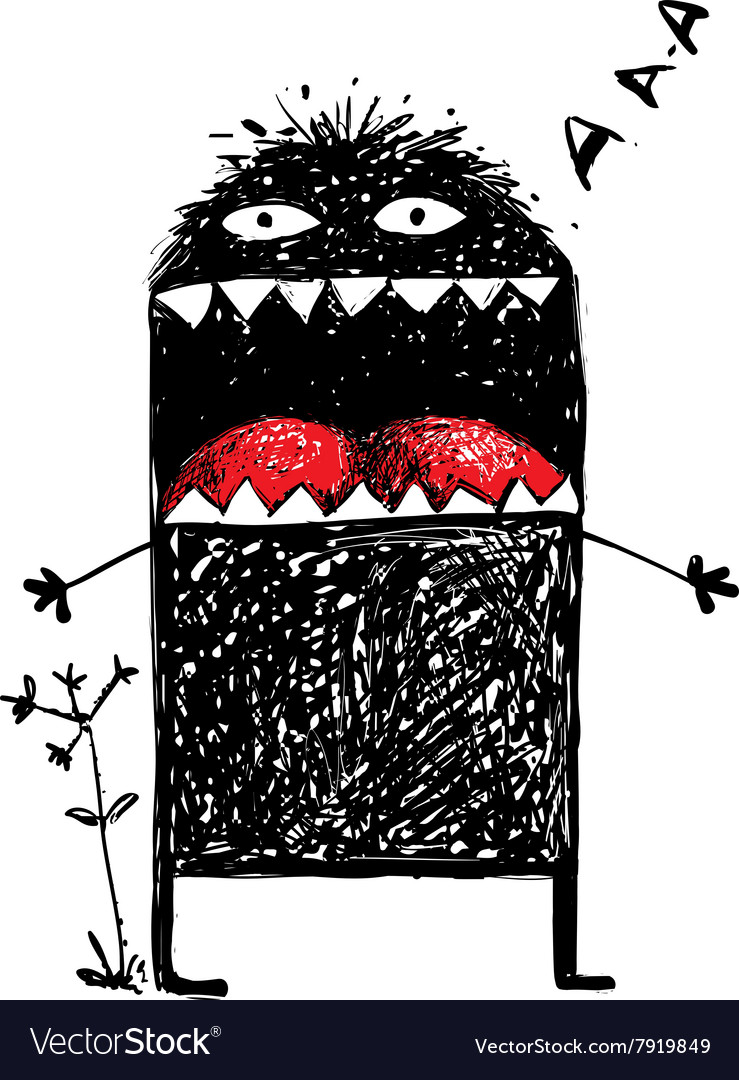 Ugly Character Monster Screaming