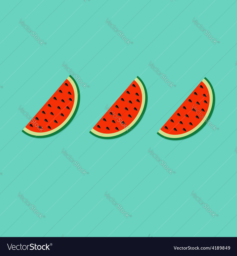 Watermelon slice cut with seed in a row set Flat