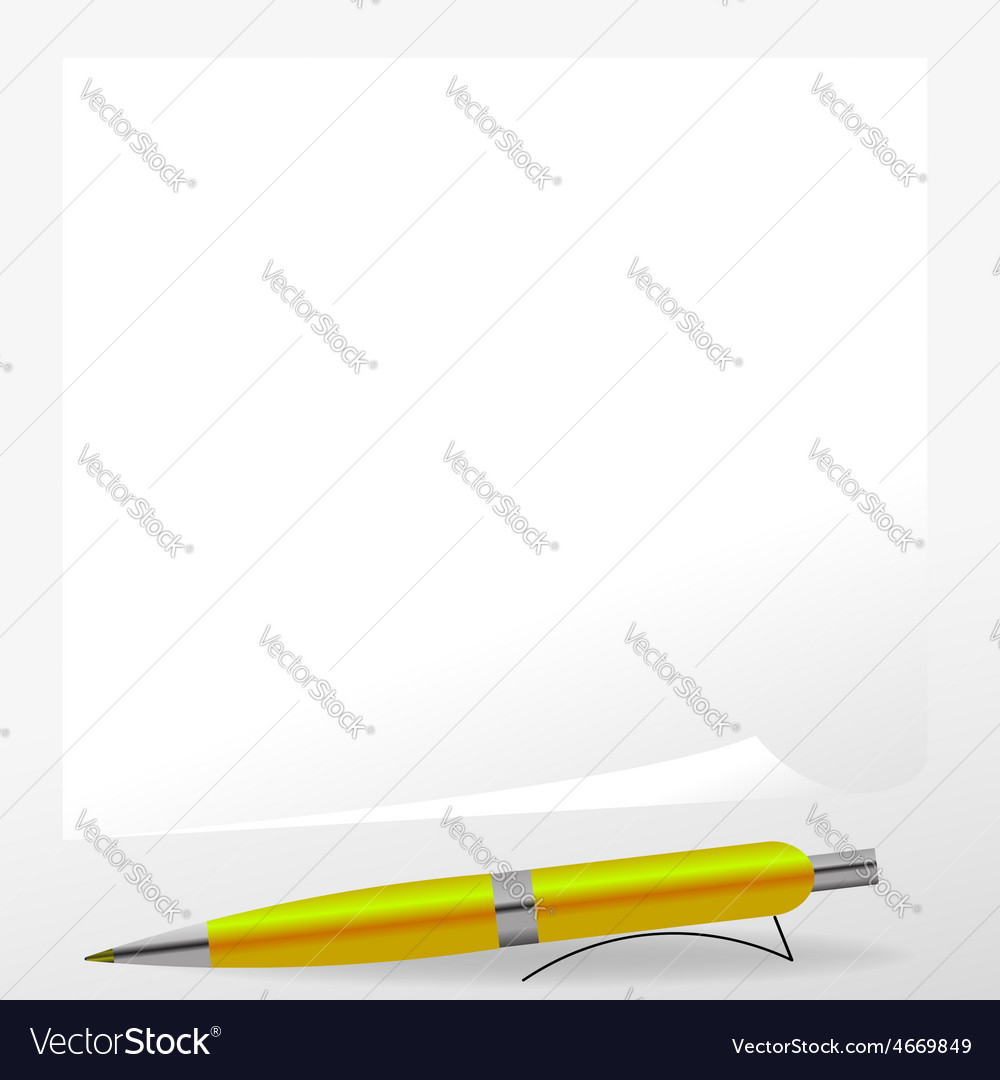 Yellow Pen and Paper vector image