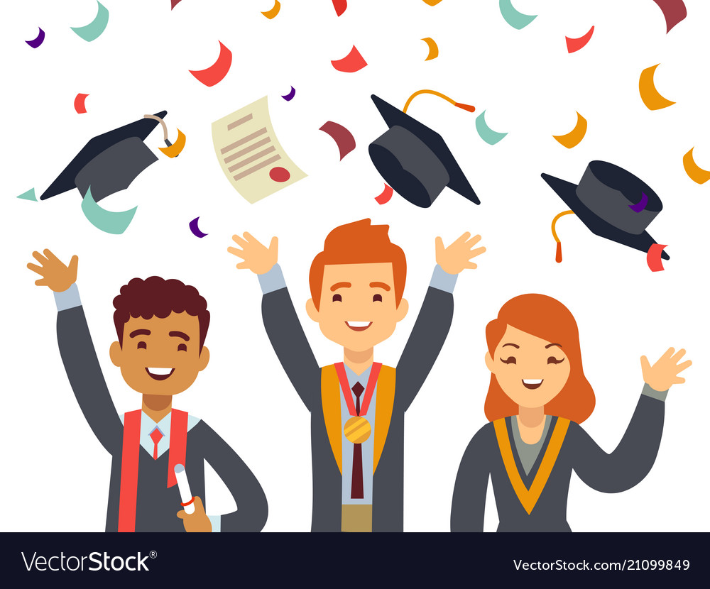 Young happy graduates with graduate caps and