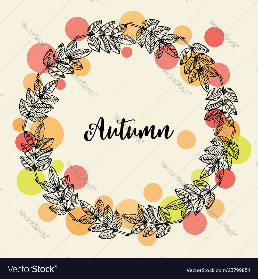 Autumn hand drawn wreath with fall leaves