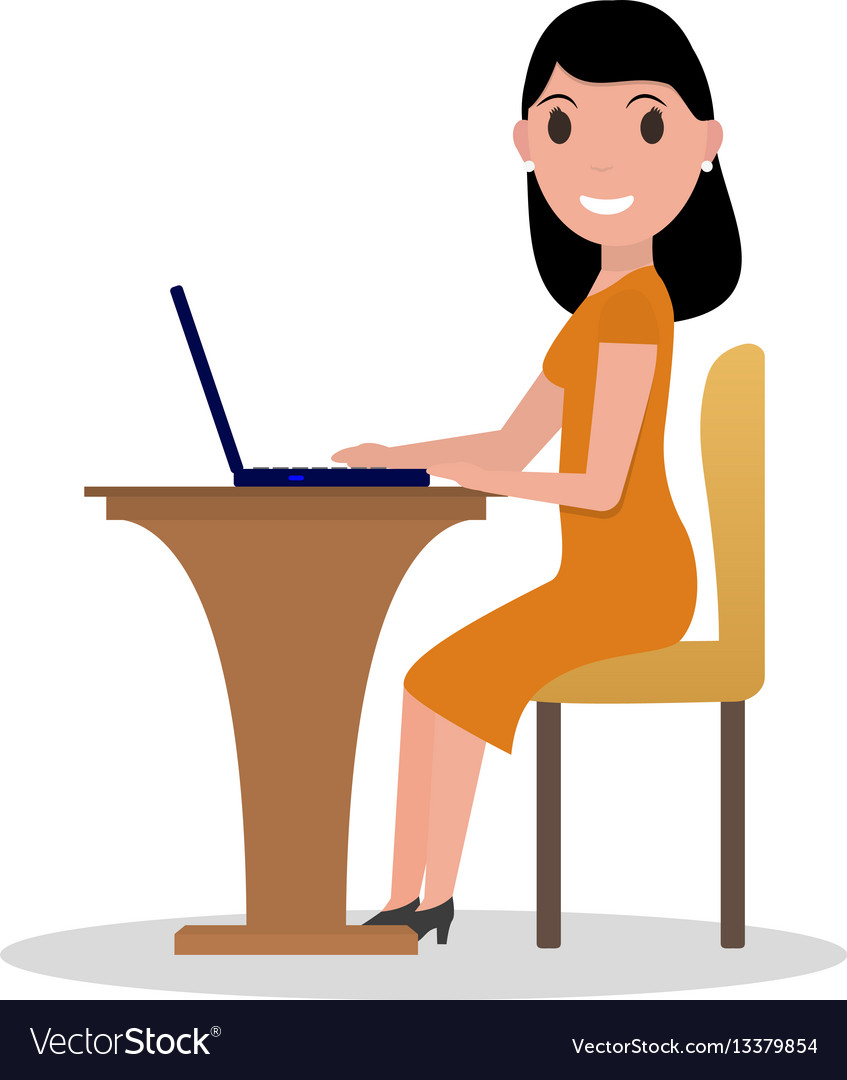 Cartoon woman working at his laptop
