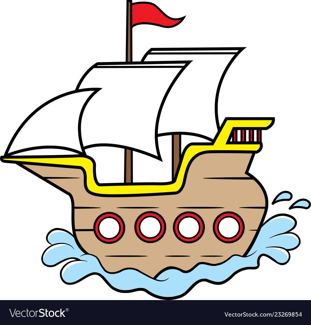 Cartoon Wooden Sailing Ship Royalty Free Vector Image