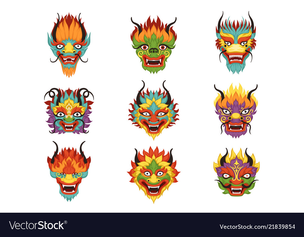 Chinese Dragon Heads Set Chinese New Year Symbol Vector Image