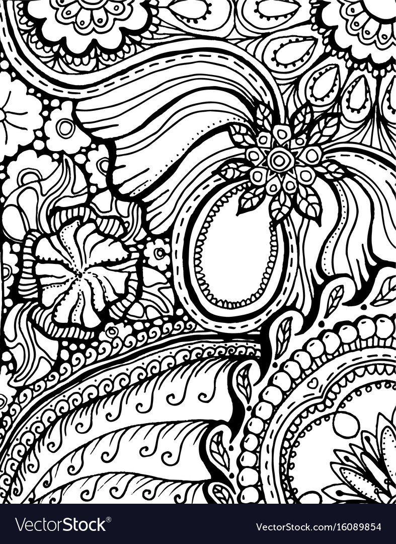 Coloring Book Page Design With Pattern Mandala Vector Image