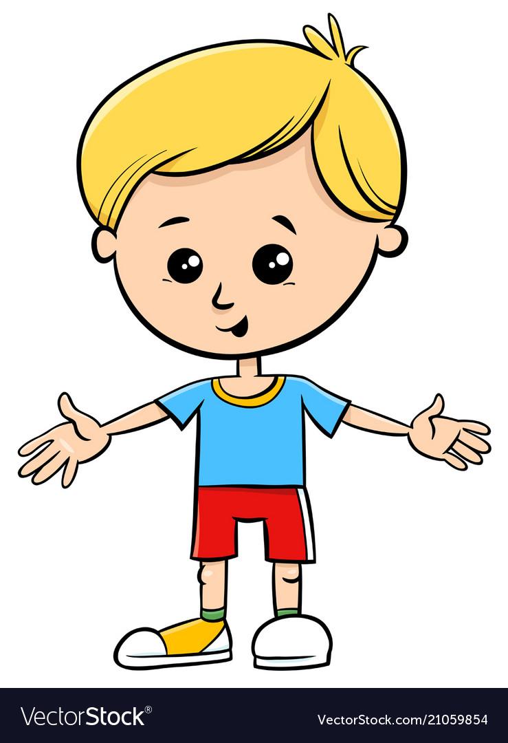 Cute little boy cartoon kid character Royalty Free Vector