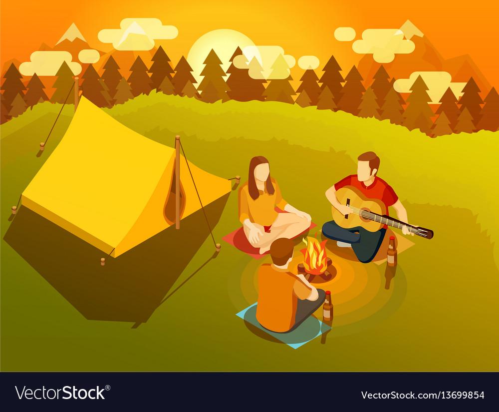 Friends singing around campfire isometric