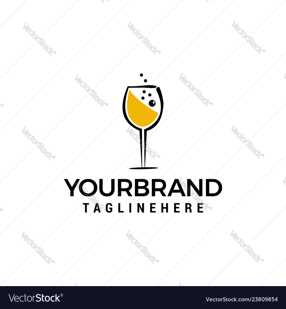 Glass of wine logo design concept template