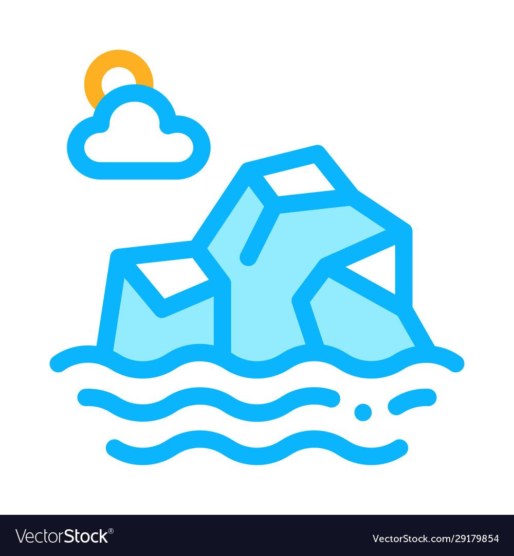 Iceberg in sea icon outline