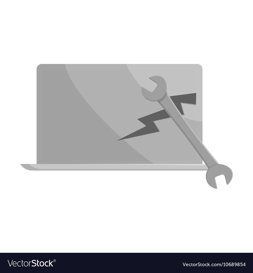 Laptop repair icon black monochrome style