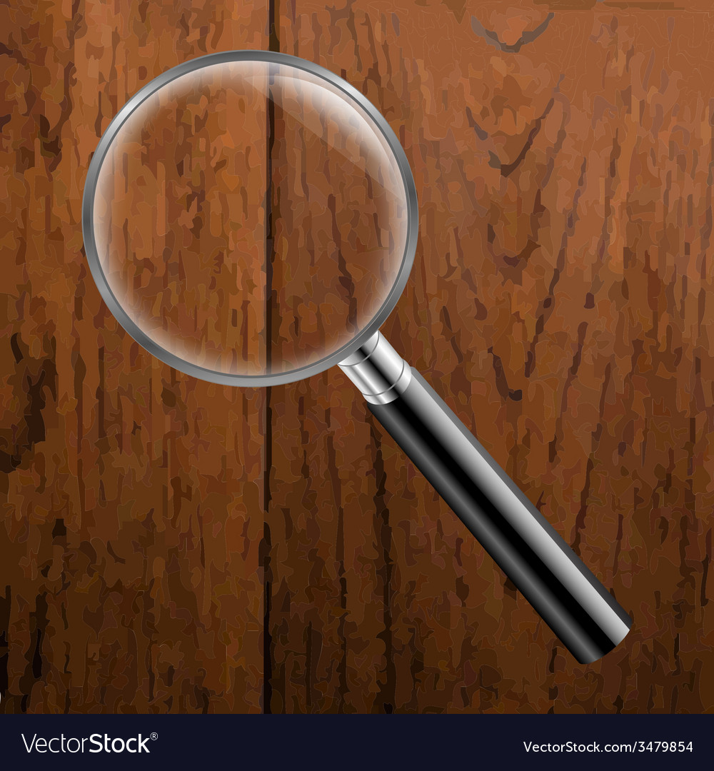 Magnifing Glass With Wooden Background vector image