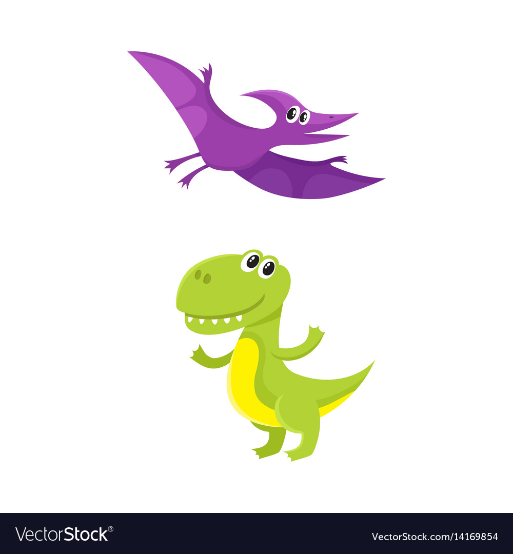 Two cute and funny baby dinosaur characters