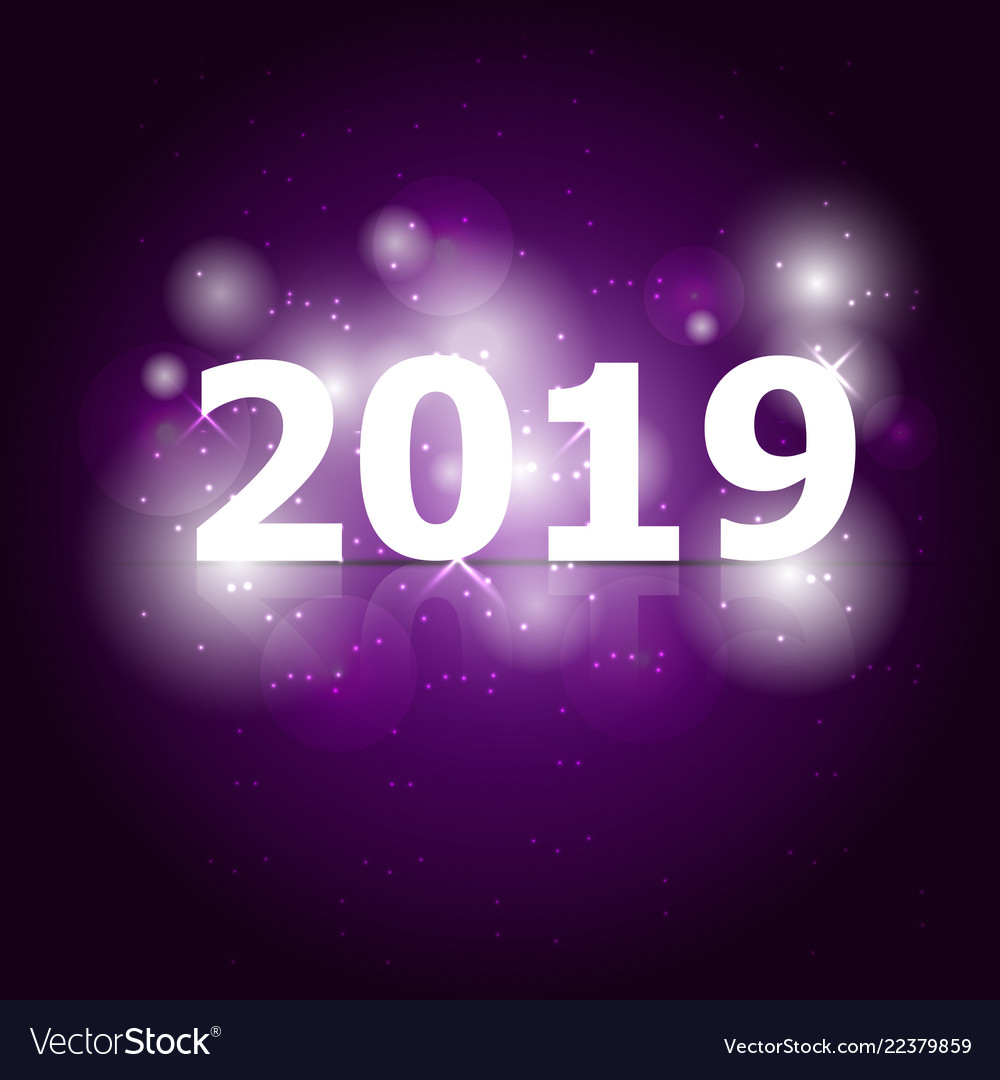 2019 happy new year on violet background