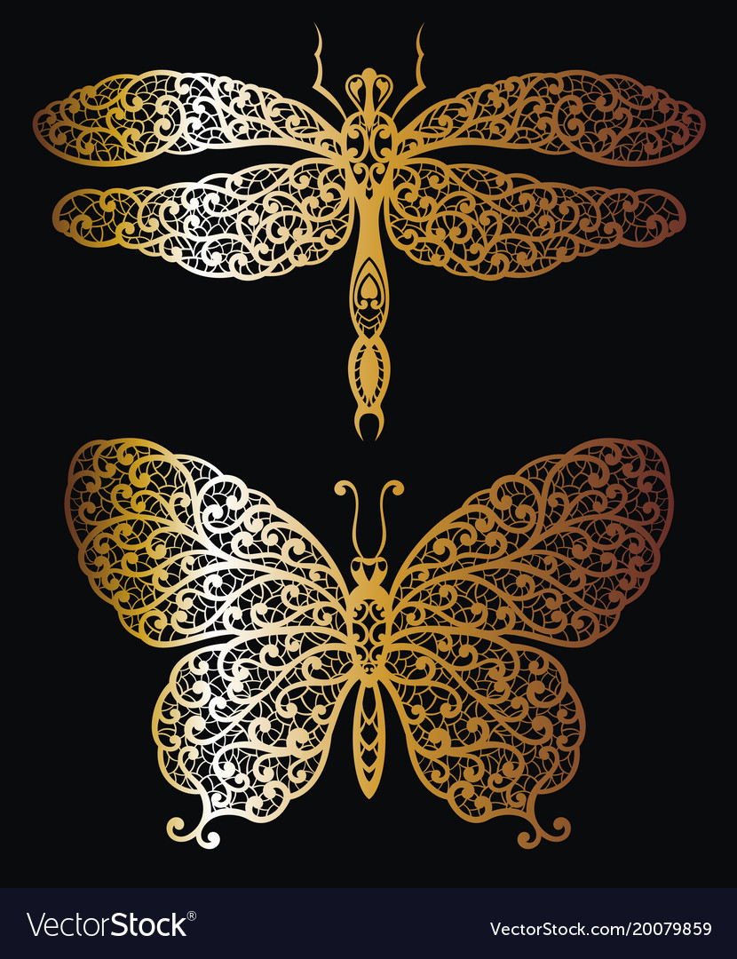 Butterfly and dragonfly in gold