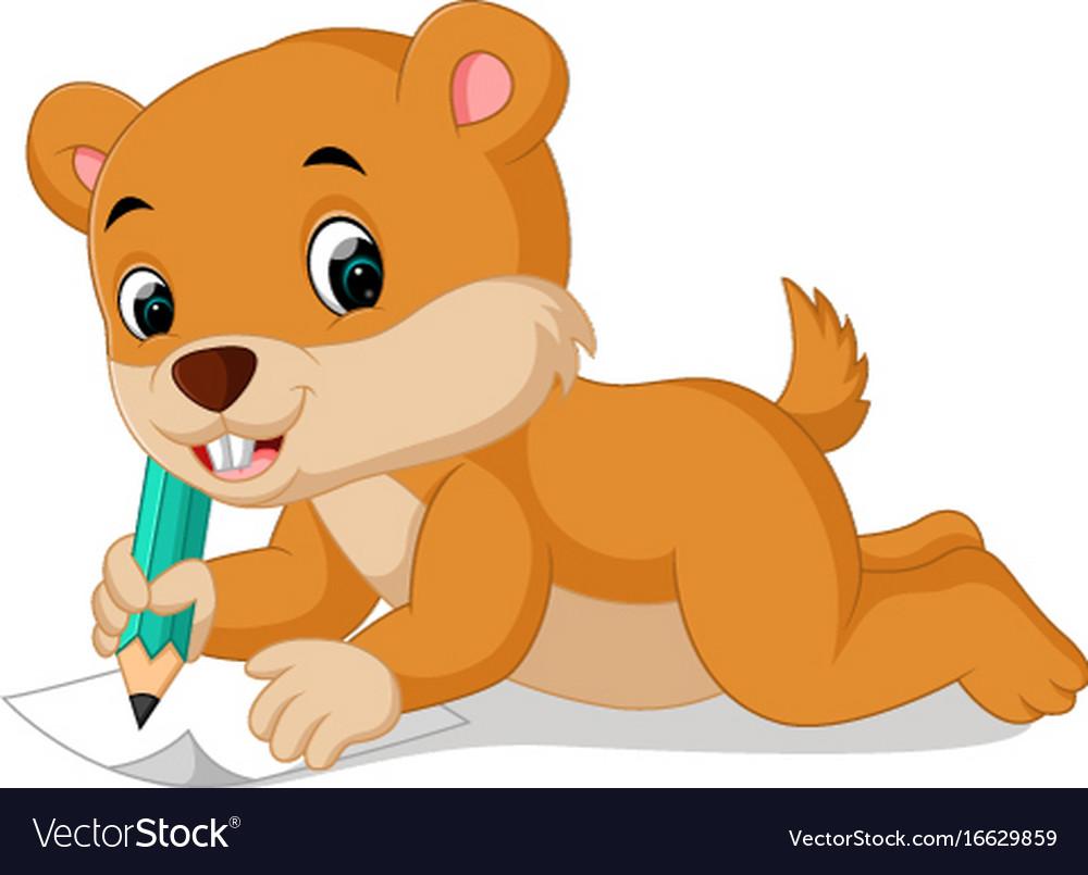 Cartoon chipmunk holding pencil