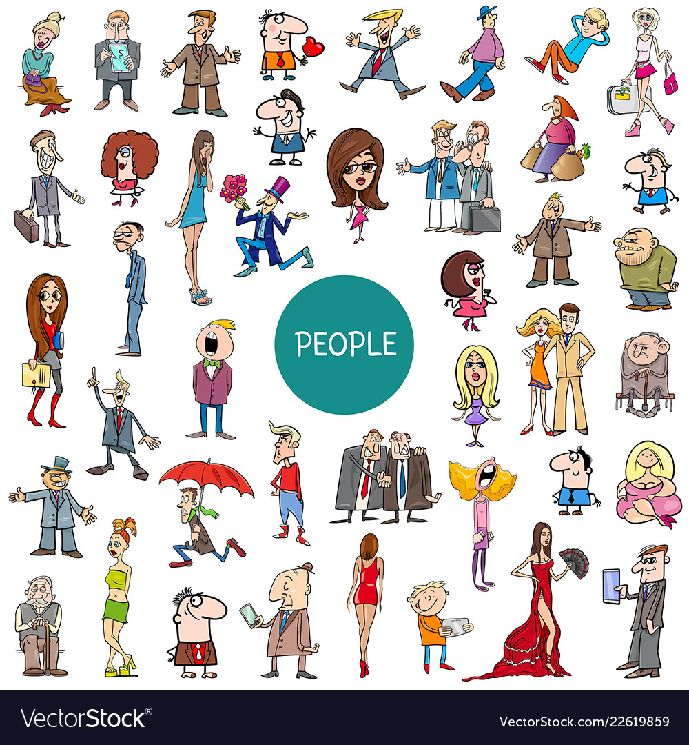 Cartoon people characters set