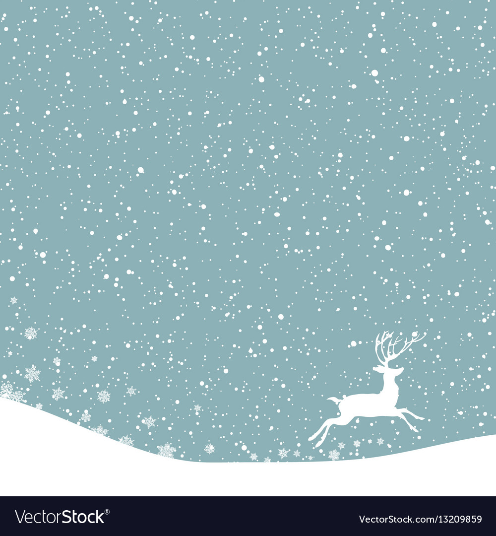 Christmas postcard background with white deer