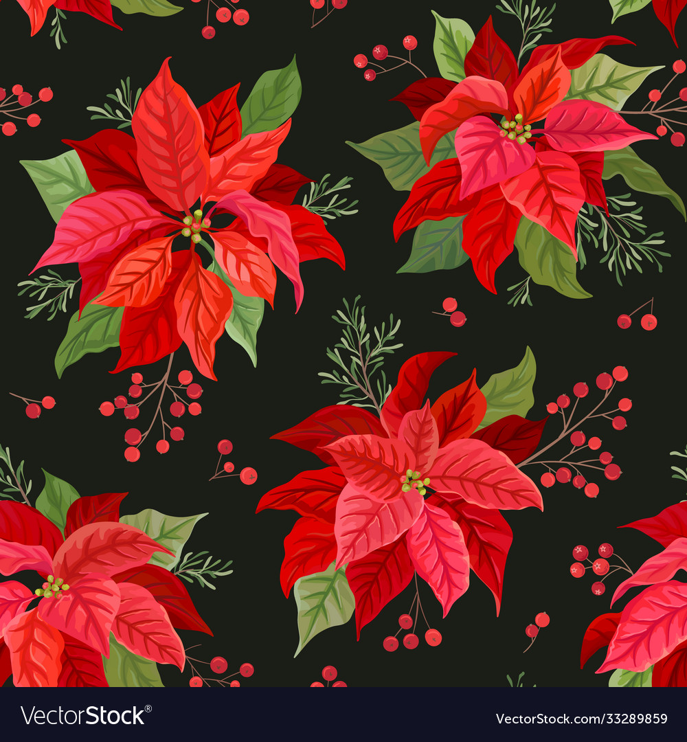 Christmas seamless pattern with winter flower