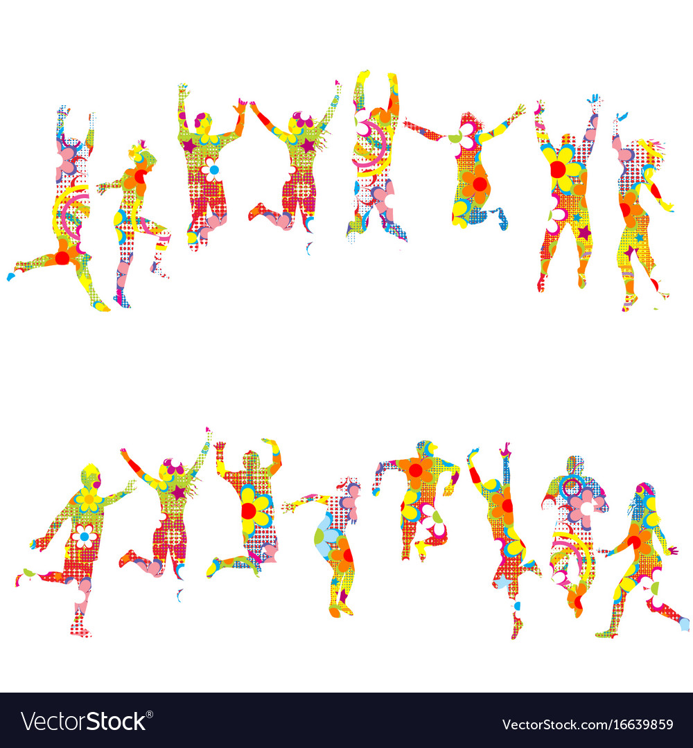 Colorful floral patterned silhouettes of jumping vector image