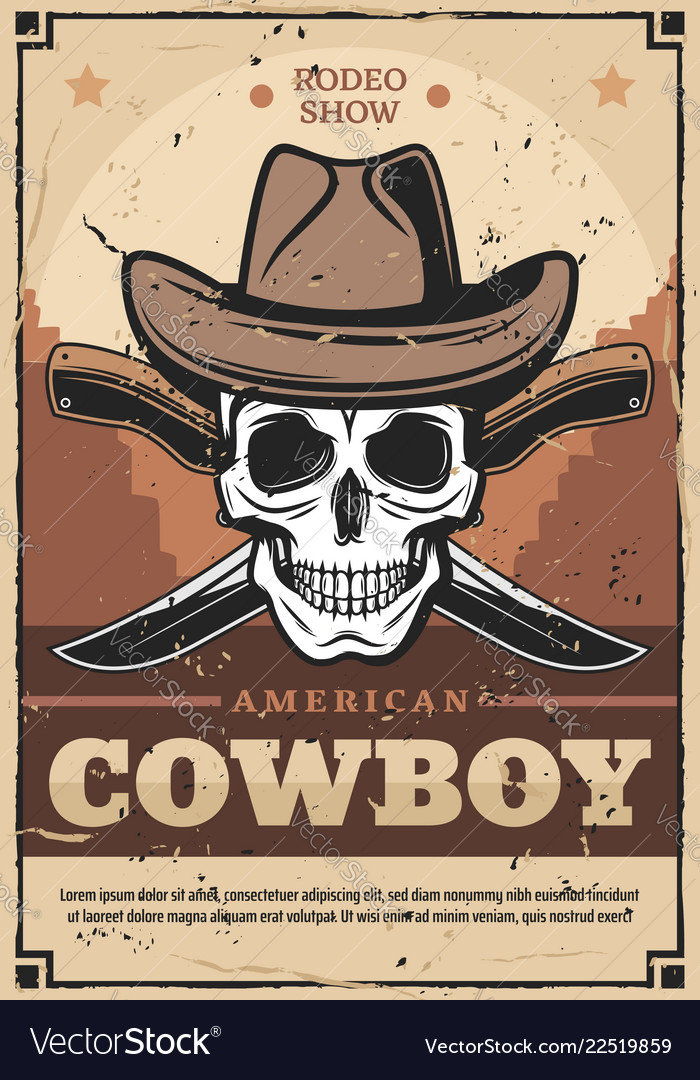 Cowboy skull in hat with crossed knives
