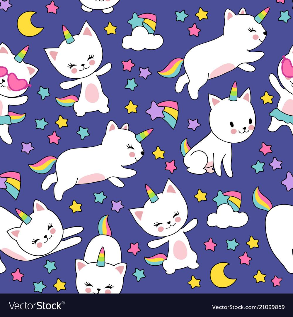 Cute cats unicorn seamless pattern for kids