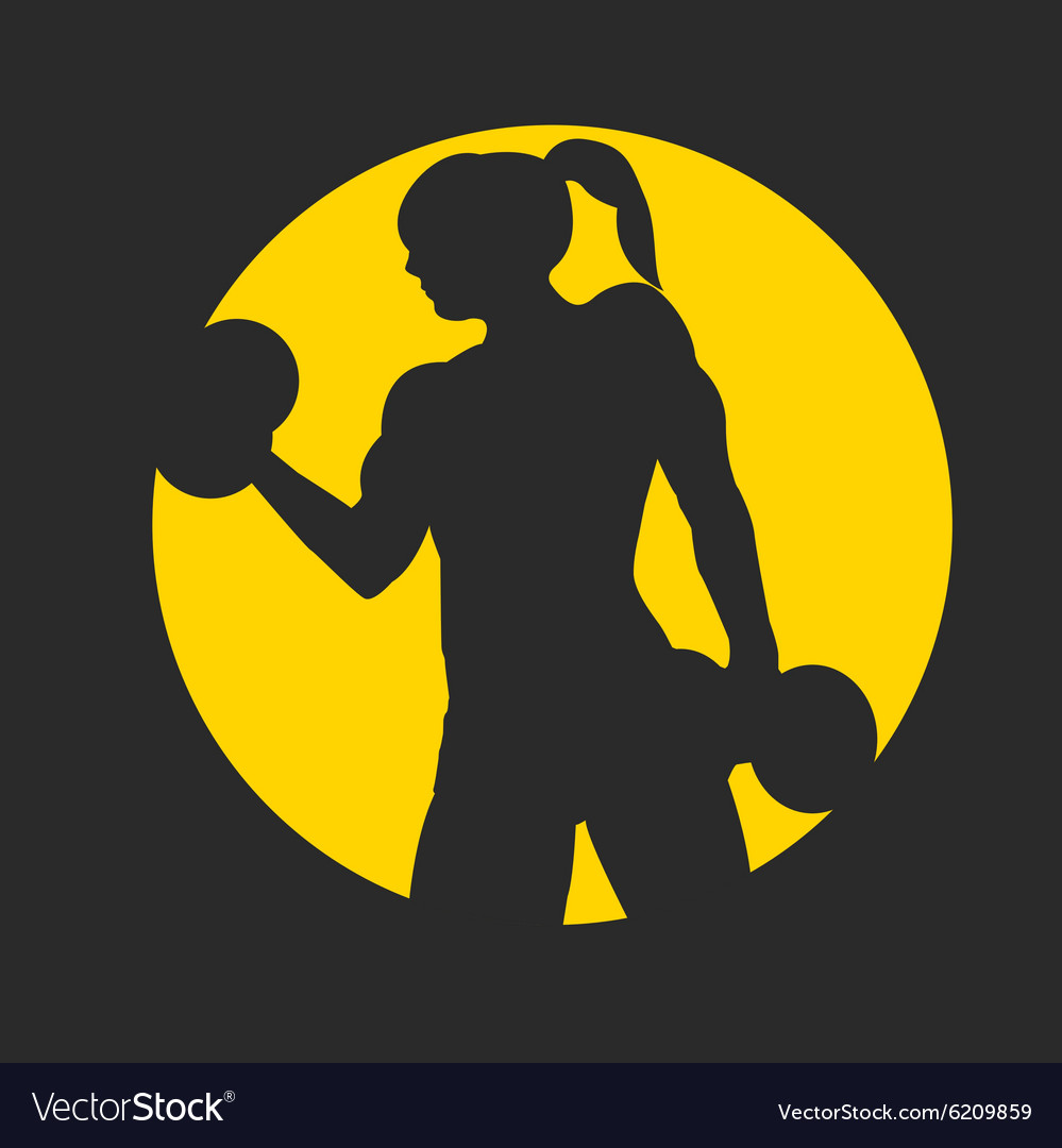 Fitness logo with muscled woman silhouettes Woman