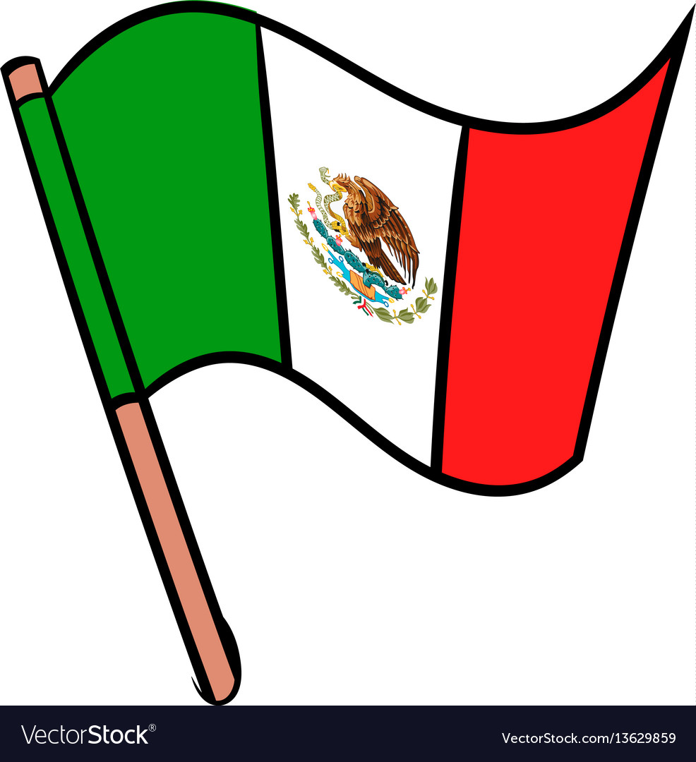 flag of mexico icon cartoon royalty free vector image rh vectorstock com cartoon flag images cartoon flag pole