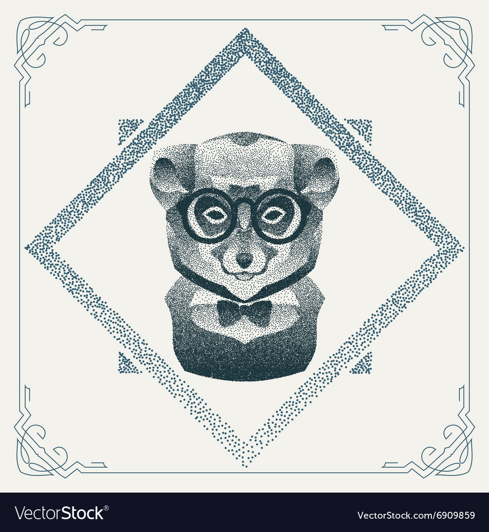 Halftone hipster lemur with black Dots