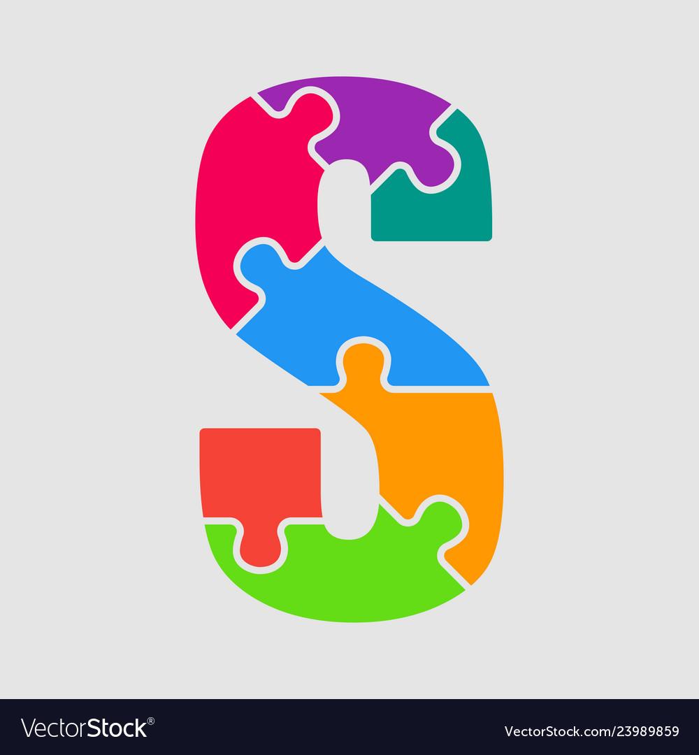 Jigsaw font colour puzzle piece letter - s
