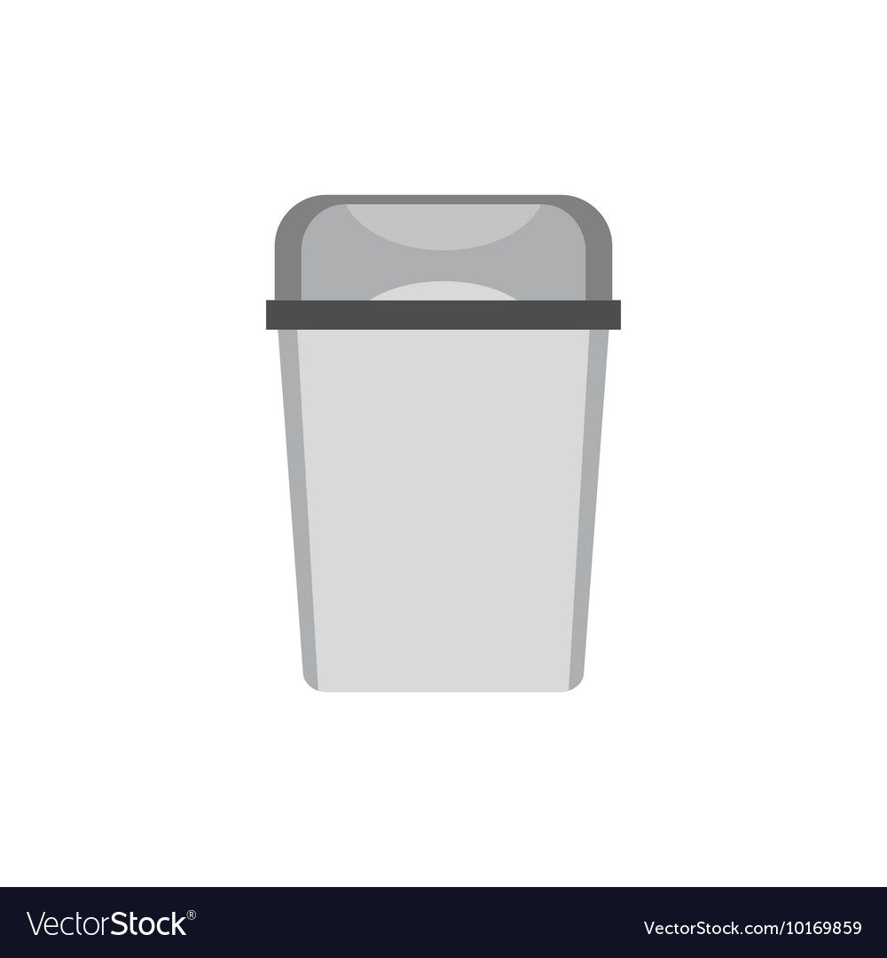 Kitchen garbage can icon flat style