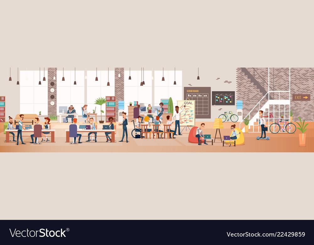 People work in office coworking workspace