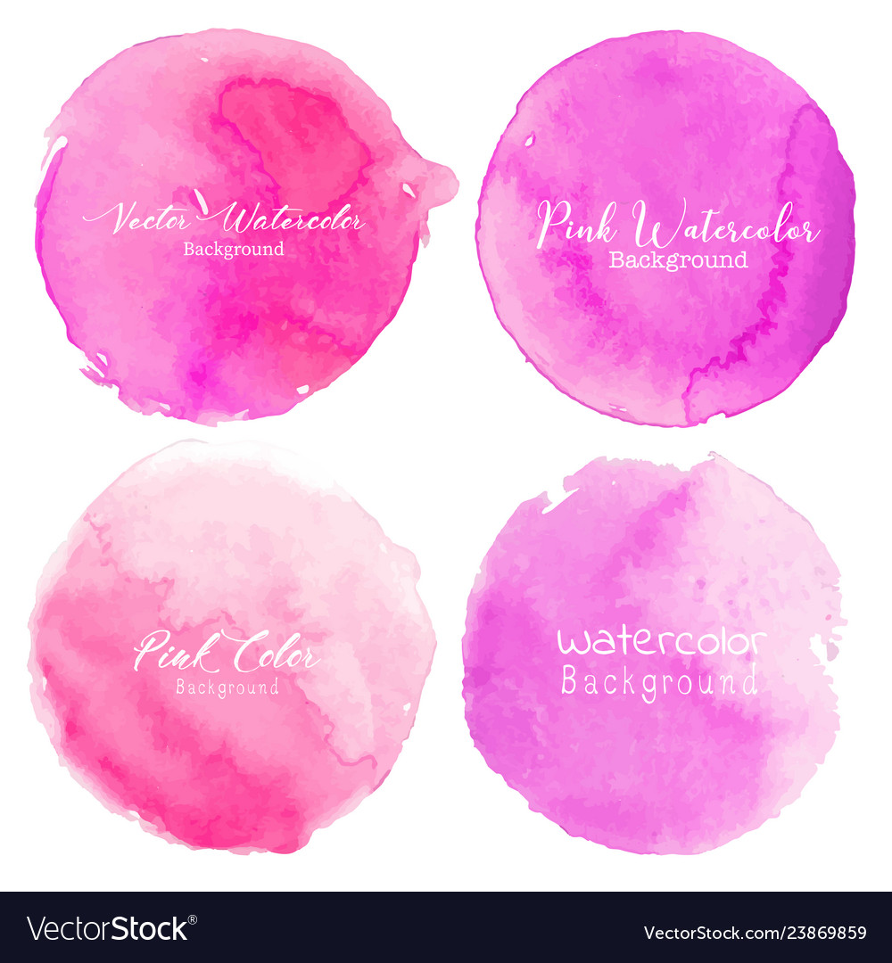 Pink watercolor circle set on white background