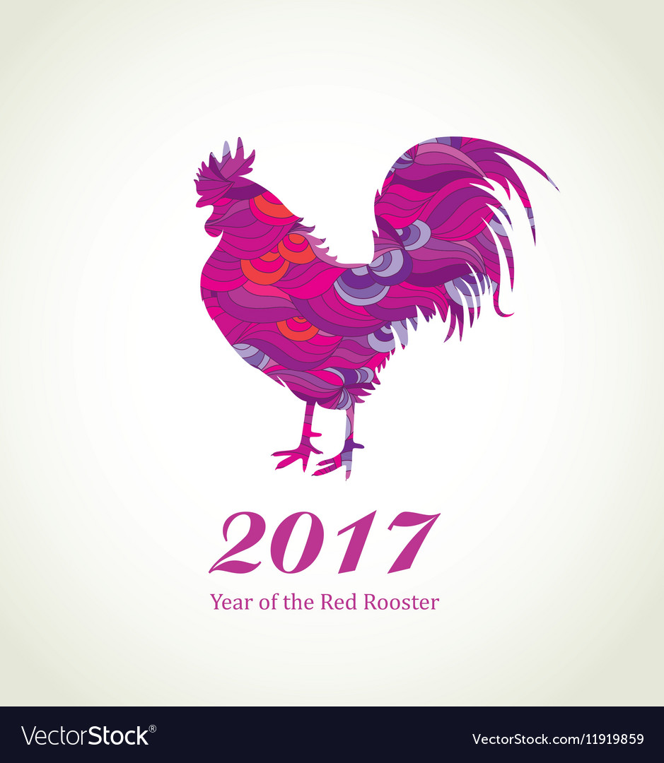 Red Rooster New Year Greeting Card