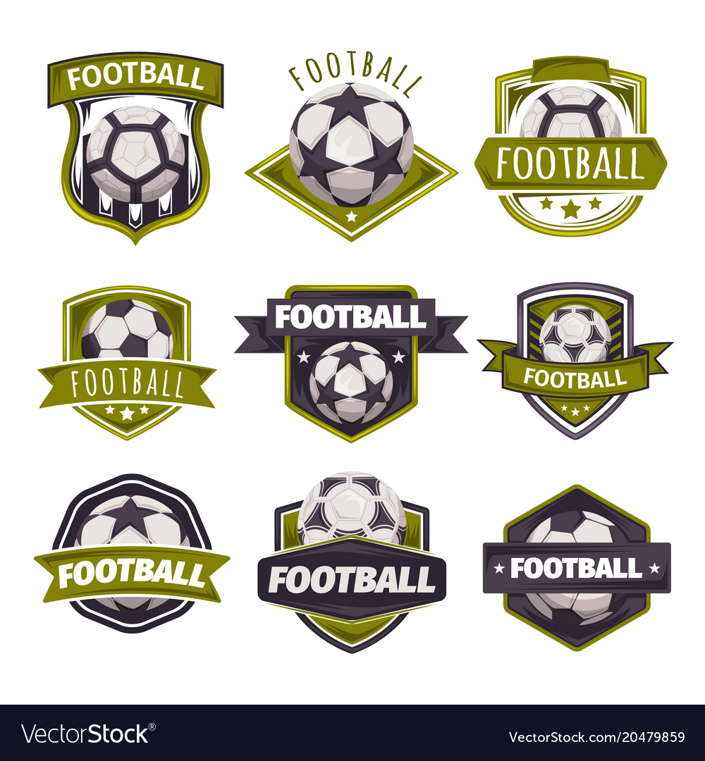 Set logos emblems on theme soccer