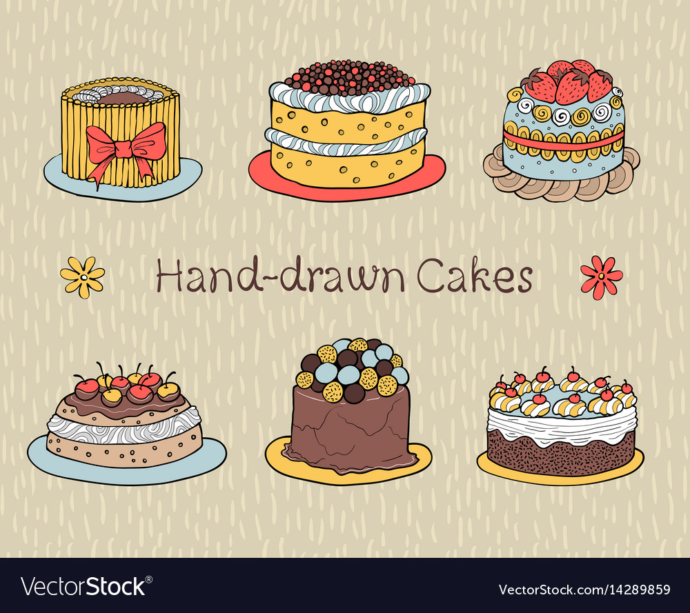 Set of hand-drawn cakes